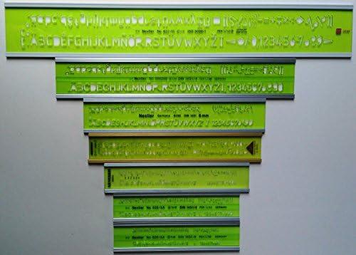 7 x nestler Texto Plantillas Juego según ISO 3098 1,8 hasta 10 mm recto – En cursiva aluminio: Amazon.es: Oficina y papelería