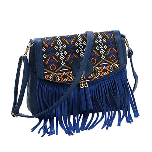 Frange PU Sac Sac Femme Bandoulière Gwell Main à Vintage Sacs Bleu Cuir wxHv6IaIBq