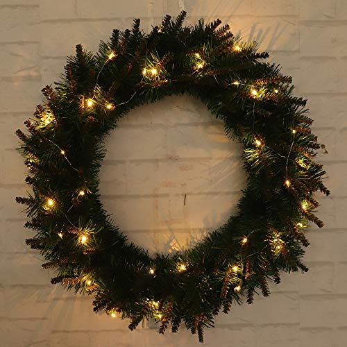 30/40/50cm DIY LED Hanging Wreath Christmas Party Decoration,Outsta Wreath Wall Ornament Christmas for The Front Door, Home Décor (15.7