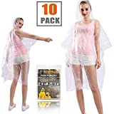 RAINPOH Rain Ponchos Disposable for Adults - (10 Pack) Premium Quality Thicker - 100% Waterproof Emergency Rain Ponchos with Hood - for Concerts, Camping, Perfect for Disneyland,Clear