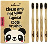 Natural Bamboo Charcoal Toothbrush for Kids W/BPA Free Nylon Bristles, Individually Numbered Pack of 4, Organic & Compostable toothbrushes, Plastic Free Packaging