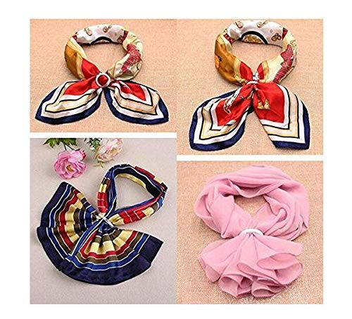 6PCS 2 Inch Plastic Round Shape Fashion Scarf Ring Clip Scarf Slides Making Charms Clothing For Neckerchief Suit For Women Lady Girl Decoration Tools Random Color