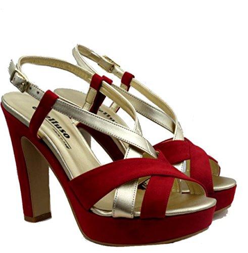 Donna rosso Melluso J440 Rosso Camoscio Scarpe Sandali In PwTdWAq