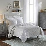 Vue 15974BEDDF/QWHI Atlantis 90-Inch by 90-Inch 3-Piece Full/Queen Bedspread Set, White