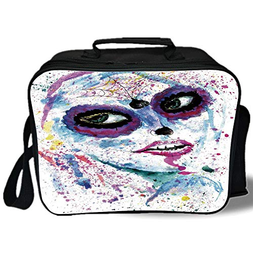 Insulated Lunch Bag,Girls,Grunge Halloween Lady with Sugar Skull Make Up Creepy Dead Face Gothic Woman Artsy,Blue Purple,for Work/School/Picnic, Grey -
