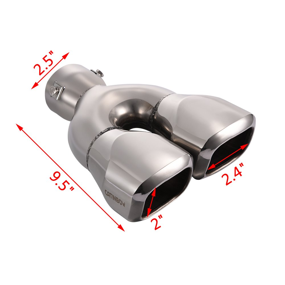 Catinbow Dual Exhaust Tips 2.5 Inlet 2.4x2 Outlet 9.5 Long Polished Stainless Steel Double Wall Square Slant Cut Bolt-on Exhaust Tail Pipe