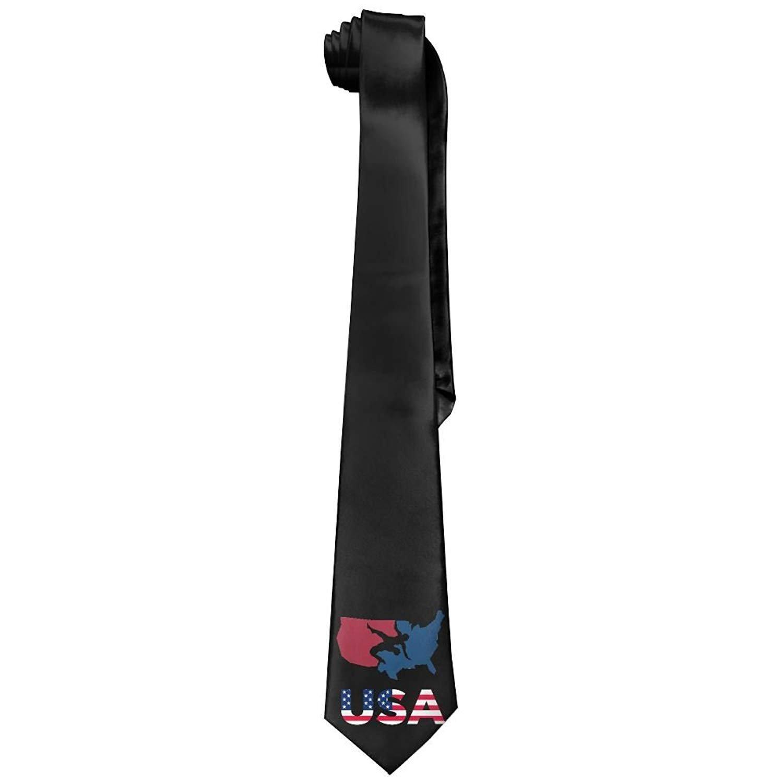 Wrestling USA Patriotic American Flag Map 100% Polyester Mens Men's Classic Elegant Ties Retro Skinny Necktie