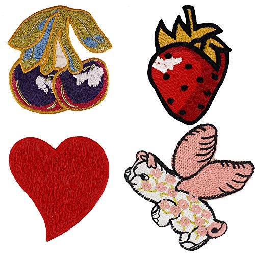 Embroidery Patches Flying Pig Red Heart Strawberry Cherry Badges Children Badge 1 -