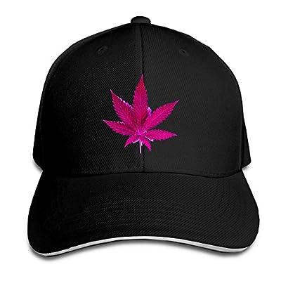 Unisex Sandwich Baseball Cap Pink Weed Leaf Adjustable Snapback Hat Hunting Casquette