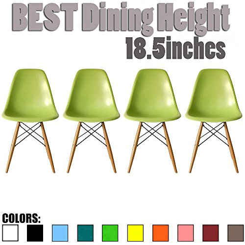 2xhome - Set of Four (4) Green - Eames Side Chair Eames Chair Green Seat Natural Wood Wooden Legs Eiffel Dining Room Chairs No Arm Arms Armless Molded Plastic Seat Dowel (Side Four)