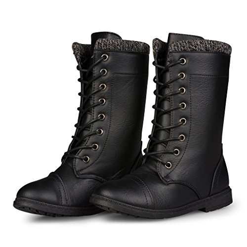 [[B2632-BLK-3] Girls Black Boots: Mid-Calf Combat Style Lace Up, Sweater Cuff, Size 3] (Next Kids Boots)