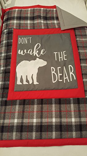 Lumberjack Baby Crib Quilt Soft and cuddly grey cotton back, Bear, Dont Wake the Bear, Grey flannel plaid swaddle blanket