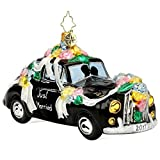 Christopher Radko 2017 Honeymoon Getaway Wedding Car Glass Christmas Ornament - Just Married