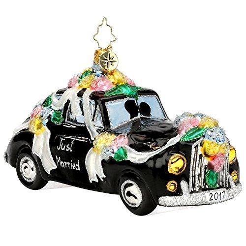 Christopher Radko 2017 Honeymoon Getaway Wedding Car Glass Christmas Ornament - Just Married