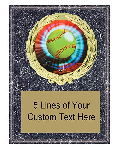 Express Medals 5x7 Black Marble Color Softball Plaque Award Trophy with Engraved Plate MY4 ()