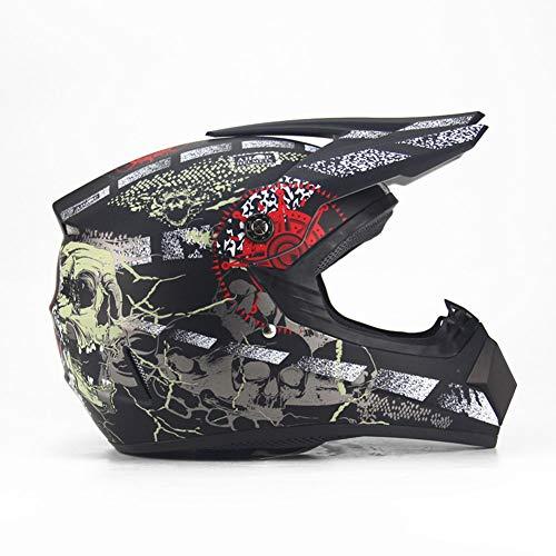 SHOW Cascos - Casco Universal de Cuatro Estaciones - Casco Protector de Motocross para Hombres y Mujeres-Pirata-Negro Mate,XL