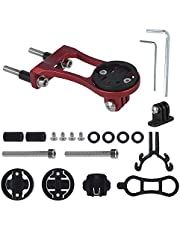 Bike Stem Extension Mount Computer Adapter Adjustable Aluminum Alloy Front Phone Extension Cycle Bicycle Holder Bracket for Garmin Edge GPS, for Sports Camera Compatible Flashlight (Red)