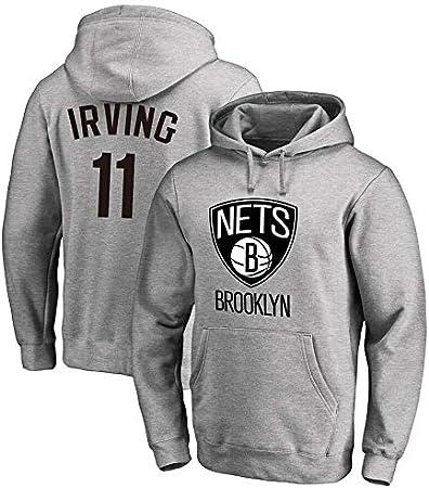 Sudadera para Hombre Fans de la NBA Jersey Brooklyn Nets Kyrie Irving Sudadera con Capucha y Manga Larga con cordón Casual Cómodo Jersey S-XXXL Gris