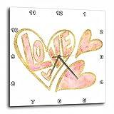 3dRose PS Inspiration - Gold Pink Love Watercolor Hearts - 10x10 Wall Clock (dpp_280754_1)
