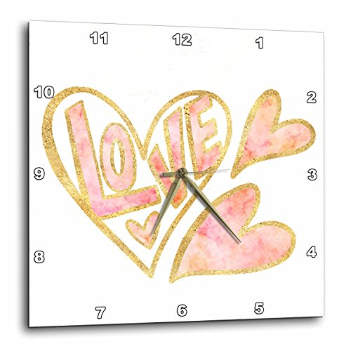 3dRose PS Inspiration - Gold Pink Love Watercolor Hearts - 10x10 Wall Clock (dpp_280754_1) by 3dRose