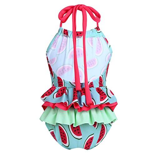 Ruffle Infant Swimsuit Piece One (iiniim Baby Little Girls One Piece Floral Bikini Swimsuit Swimwear Hawaii Ruffle Swim Bathing Suit Halter Watermelon Red 12-18 Months)
