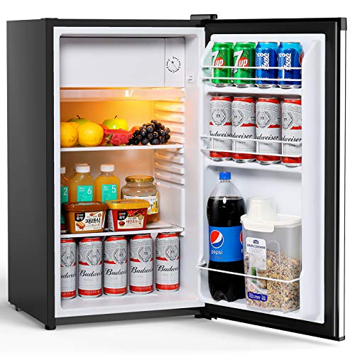 Colzer Compact Refrigerator, Mini Fridge with Freezer for Office, College Dorm Room & Apartment, 3 Cu. Ft. Small Compressor Refrigerator, Single Stainless Steel Door, Frost-free