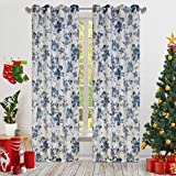 Blue Rose Print Curtains for Nursery Kids Bedroom Vintage Rose with Transparent Lace Window drapes for Living Room Grommet Top 2 Panels 52 W by 63 L Inch Home Decorative Draperies by GD