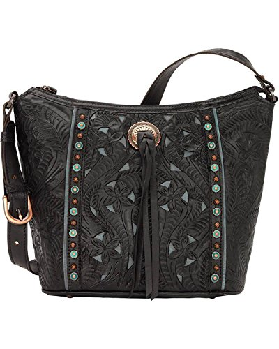 - American West Hill Country Zip Top Bucket Tote Hand Tooled Genuine Leather - Black/Turquoise
