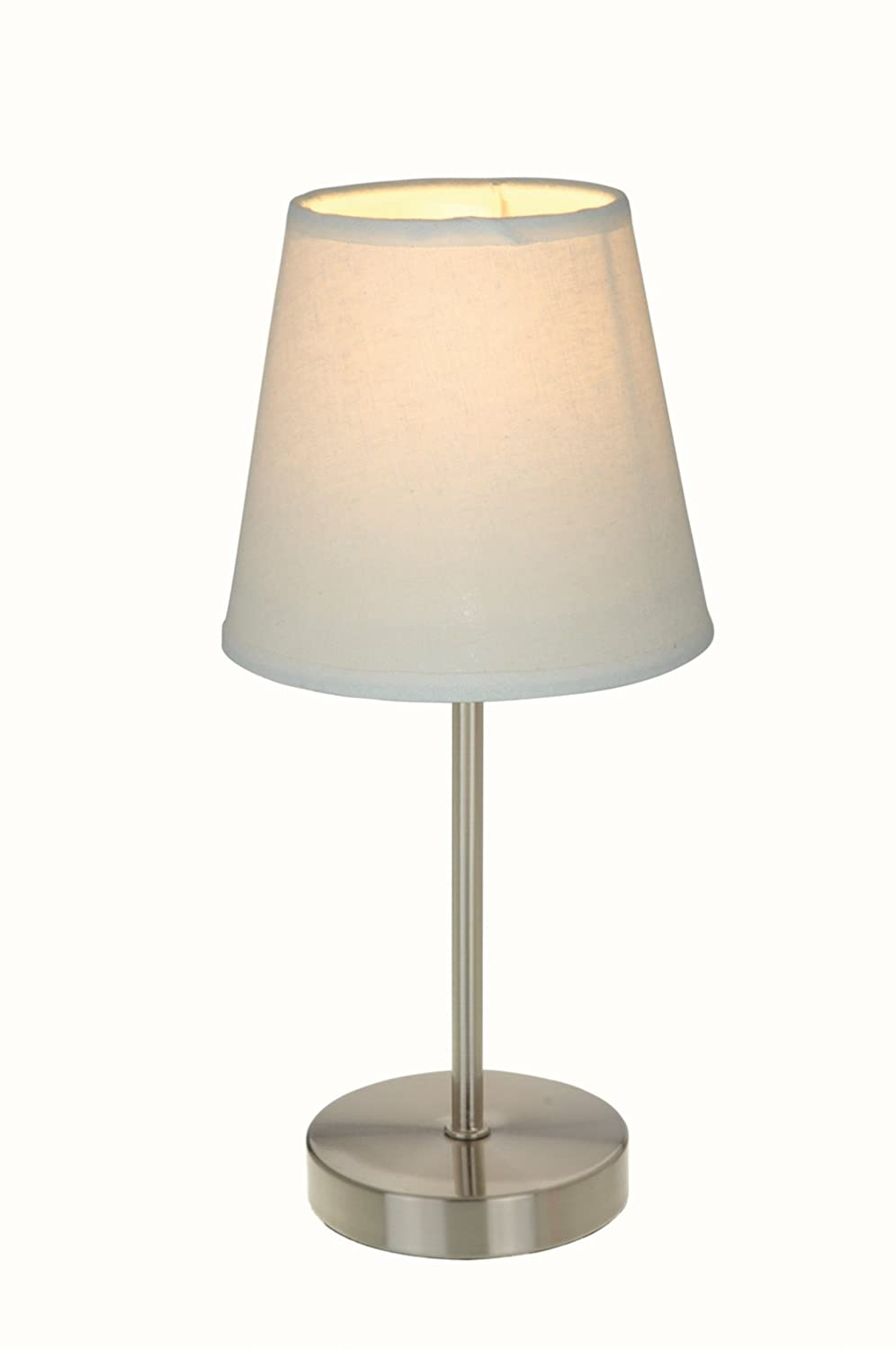 "Simple Designs Home LT2013-WHT Sand Nickel Simple Designs Mini Basic Table Lamp with Fabric Shade, 4.88"" x 4.88"" x 10"", White"