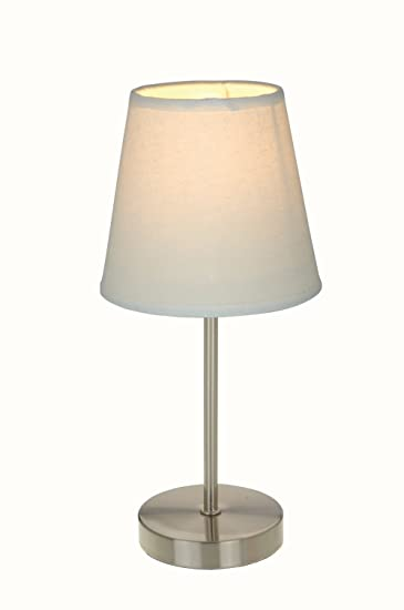 Simple Designs LT2013-WHT Sand Nickel Mini Basic Table Lamp with Fabric  Shade, White