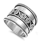 Prime Jewelry Collection Sterling Silver Bright Women's Bali Ring (Sizes 6-12) (Ring Size 5)