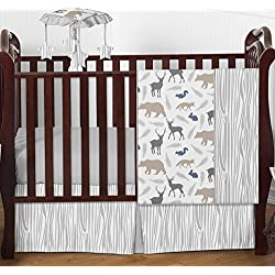 Blue Grey and White Woodland Animal Safari Bear Deer Fox Unisex Bedding 4pc Crib Set Without Bumper