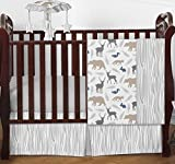 Blue Grey and White Woodland Animal Safari Bear Deer Fox Baby Boy Bedding 4pc Crib Set Without Bumper