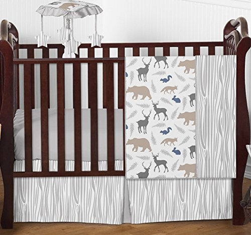 Blue Grey and White Woodland Animal Safari Bear Deer Fox Baby Boy Bedding 4pc Crib Set Without Bumper by Sweet Jojo Designs