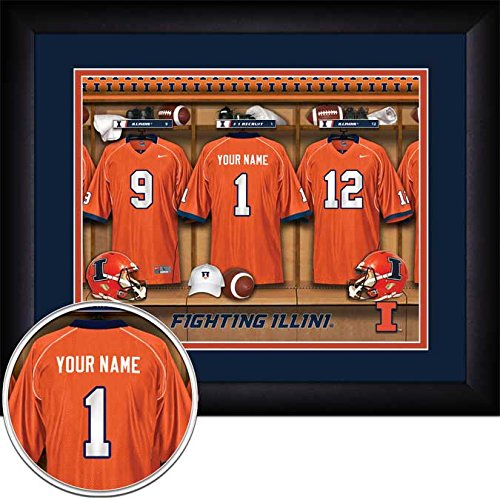 - Laminated Visuals Illinois Fighting Illini - Personalized Locker Room - Framed Poster Print