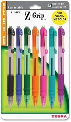 Zebra Z-Grip Retractable Ballpoint Pen, 1.0mm, Assorted Fashion Colors, 7 Pack (22276) by Zebra Pen: Amazon.es: Oficina y papelería
