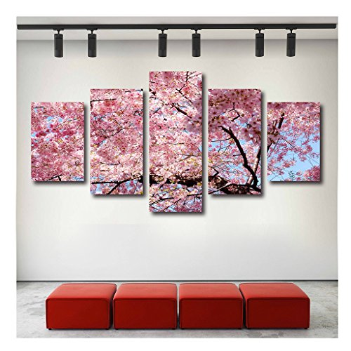 - Artrend W5200 Sakura Branches Bloom Of Cherry Blossoms For Canvas Art 5 Panel Wall Art Framed Large Set Gallery Wrap