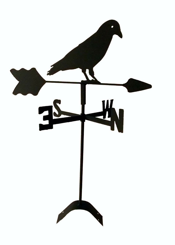Crow Roof Mounted Weathervane Black Wrought Iron Look Made in Usa by The Lazy Scroll