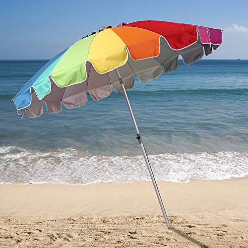 4dadeca3a6bf AMMSUN 7.5ft 20 Panels Vented Beach Umbrella with Tilt and Telescoping Pole  Pool Outdoor Sun