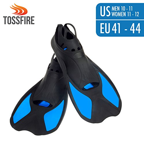 Universal Flippers Short Blade Floating Swimming Fins Adults for Men 10-11 Women 11-12 US size with Thermoplastic Rubber Pool Travel Fins for Surfing Swimming Diving Snorkeling Watersports - Blue