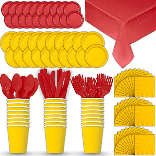 Paper Tableware Set for 24 - Yellow & Red - Dinner and Dessert Plates, Cups, Napkins, Cutlery (Spoons, Forks, Knives), and Tablecloths - Full Two-Tone Party Supplies Pack ()