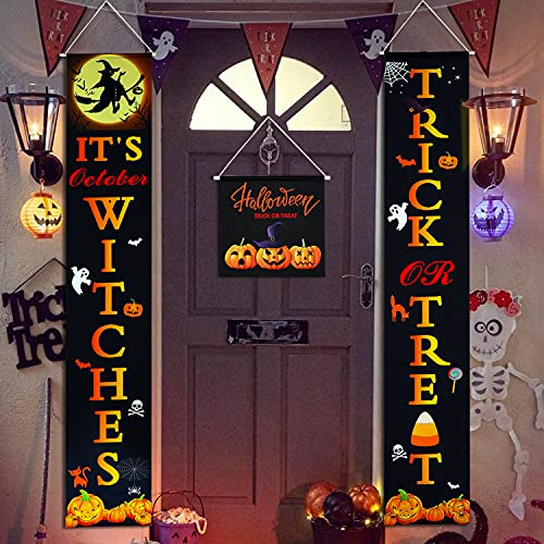 Halloween Hanging Porch Banners - Trick or Treat & It's October Witches Halloween Outdoor Decorations Front Porch Signs for Halloween Fall Party Decor Halloween Welcome Sign