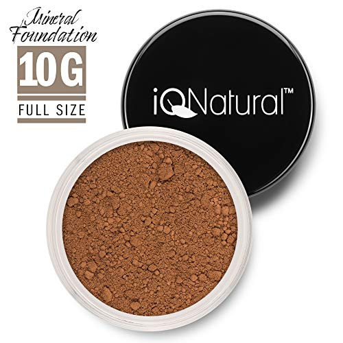 iQ Natural Mineral Foundation Loose Powder 10g Sifter Jar, Long Lasting All-Day Wear, Flawless Finish Makeup, Full Coverage - Matte | Sensitive Skin Approved | Color COPPER TAN