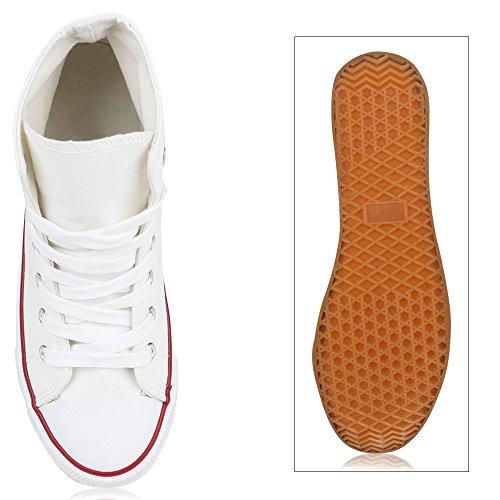 Helle Stoffschuhe Flandell High Textil Weiß Schnürschuhe Sneakers Basic Damen Schnürer Turnschuhe Kult Übergrößen Stiefelparadies Sneaker Sohle Sportschuhe wYFH77q