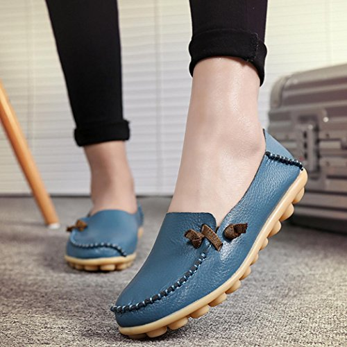 DEESEE(TM) Women Flat Breathable Soft Bottom Wild Leisure Peas Boat Casual Shoes Blue