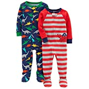 Carter's Baby Boys 2-Pack Cotton Pajamas, Crab/Dino, 24 Months