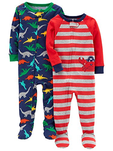 Set Footed (Carter's Baby Boys' 2-Pack Cotton Footed Pajamas, Crab/Dino, 24 Months)