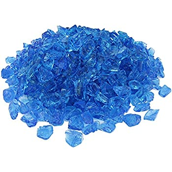 Hisencn Caribbean Tropical Blue Fire Glass 10-Pound, 1/2 Inch Tempered Glass Rocks for Natural or Propane Fireplace, Indoor & Outdoor Gas Fireplaces Firepit, Garden Landscape Decorative