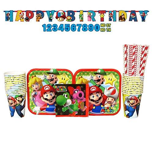 Super Mario Party Supplies Pack: Straws, Dessert Plates, Beverage Napkins, Cups, and Banner (Bundle for 16 Guests) -