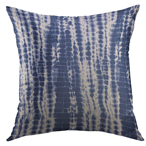 Mugod Pillow Cases Navy Shibori Indigo Blue Tie Dye Pattern White Water Color Throw Pillow Cover for Men Women Boys Cushion Cover 20x20 -